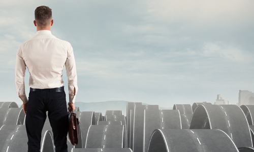 Concept of a businessman in the face of difficulties